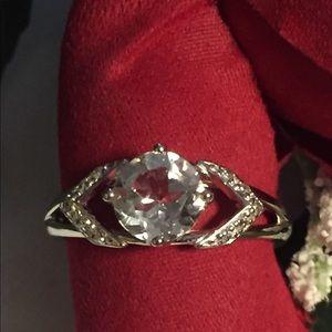 Genuine Sterling Silver White Topaz Ring